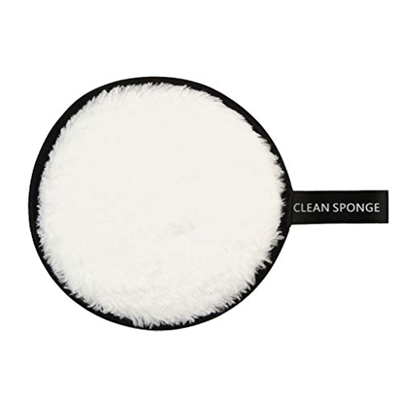 要件キャンドルへこみメイク落としパッド 再利用可能 メイク落としスポンジ 洗顔パッド 全6色 - 白
