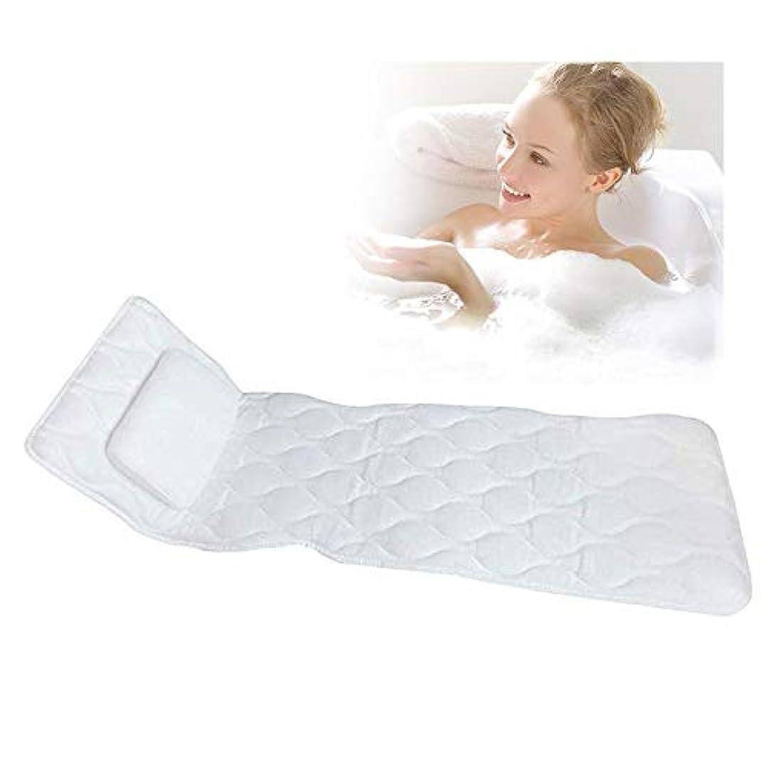 地味なパーフェルビッドパン滑り止めサクションカップとコンフォートヘッドレスト付き3D換気ボディフィッティングバスピローマット浴槽通気性クッションマットレス