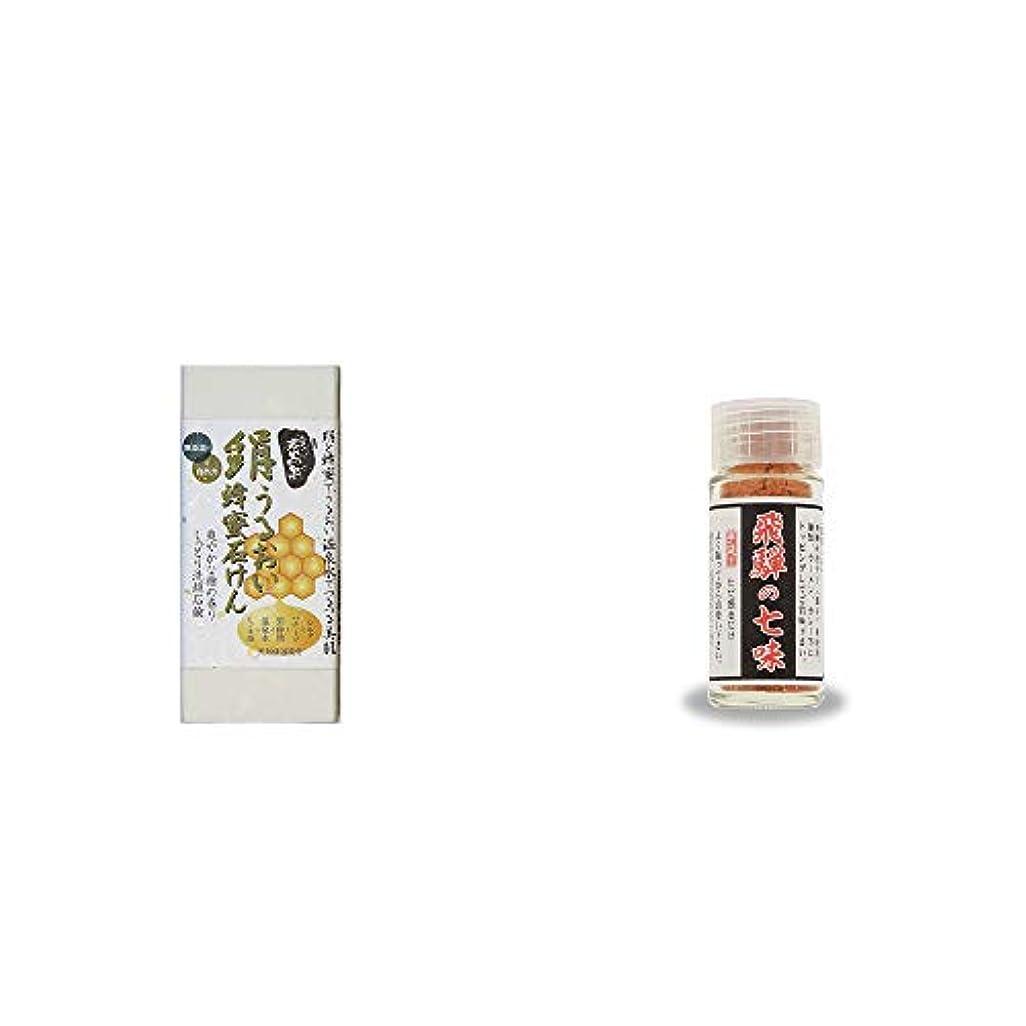サンダル革新同行[2点セット] ひのき炭黒泉 絹うるおい蜂蜜石けん(75g×2)?手造り 飛騨の七味(15g)