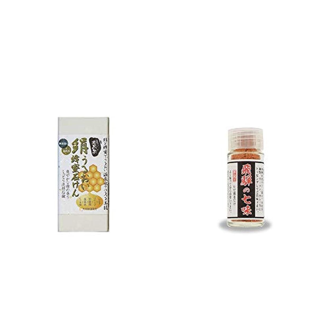 [2点セット] ひのき炭黒泉 絹うるおい蜂蜜石けん(75g×2)?手造り 飛騨の七味(15g)