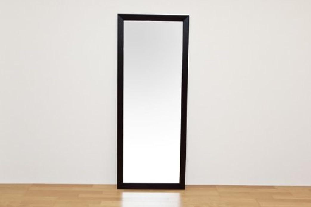 合金合法ドラフトジャンボミラー 立て掛けタイプ 幅66cm×高さ166cm[ダークブラウン]/転倒防止金具付属 大きい鏡 大型姿見
