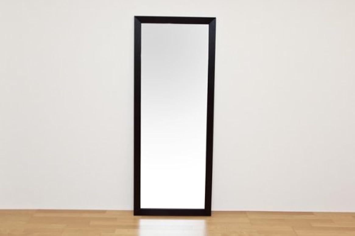 パイプ見せます目的ジャンボミラー 立て掛けタイプ 幅66cm×高さ166cm[ダークブラウン]/転倒防止金具付属 大きい鏡 大型姿見