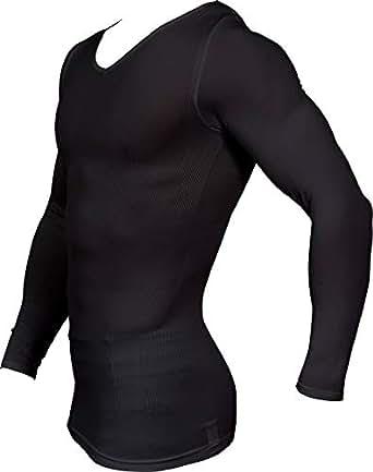 加圧シャツ メンズ 長袖 [スパルタックス] スポーツインナー コンプレッションウェア 加圧インナー (Sサイズ、身長155~164cm、胸囲76~85cm, ブラック(黒))