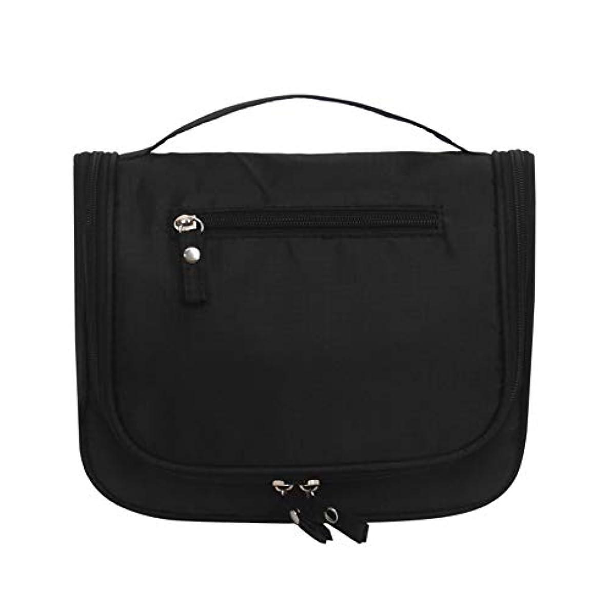 化粧オーガナイザーバッグ 大容量の旅行化粧品バッグ丈夫で耐久性のある洗濯可能な化粧品保管コンセントレーションバッグウォッシュバッグ 化粧品ケース (色 : ブラック)