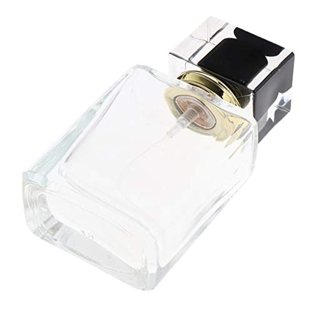 祝うキャロラインカウントCUTICATE 香水瓶 スプレー 香水瓶 ポンプ式 香水ボトル 50ml 正方形 詰め替え容器 通勤/旅行/出張 全5種 - ブラックキャップ
