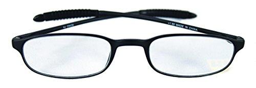 ONOS Rhino柔軟なReading Glasses with + 1.50追加電源、ブラックフレーム/クリアレンズ