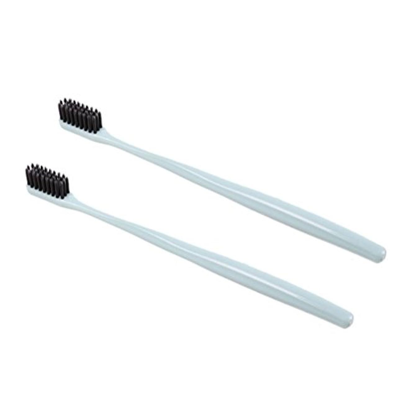 アコー便利さ障害者TOPBATHY 子供と大人のための2本の柔らかい歯ブラシ天然竹炭歯ブラシ小さなヘッド歯ブラシ(グリーン)