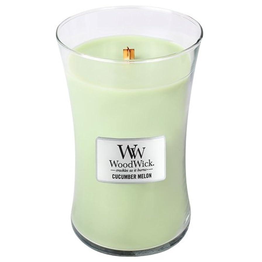 寛大さ給料飼料WoodWick Cucumber Melon Large Jar Scented Candle