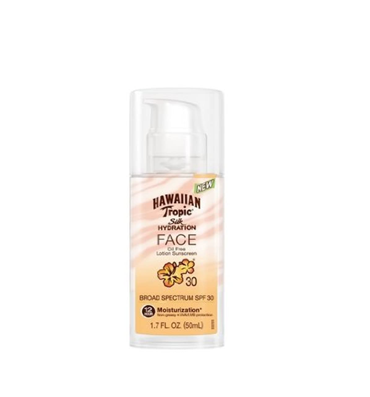 作家急行する比べる【お顔専用日焼け止め】ハワイアントロピック Hawaiian Tropic Silk Hydration Face Lotion 【12時間持続】 SPF 30, 1.7 Ounce  ハワイ直送品