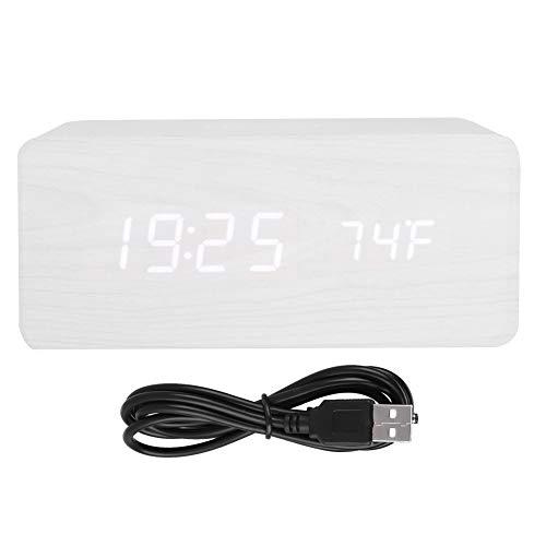 YOUTHINK デジタル時計 目覚まし時計 QIワイヤレス充電器 アラームクロック Bluetooth スピーカー スヌーズ LED時間表示(ホワイトウッド+ホワイトライト)