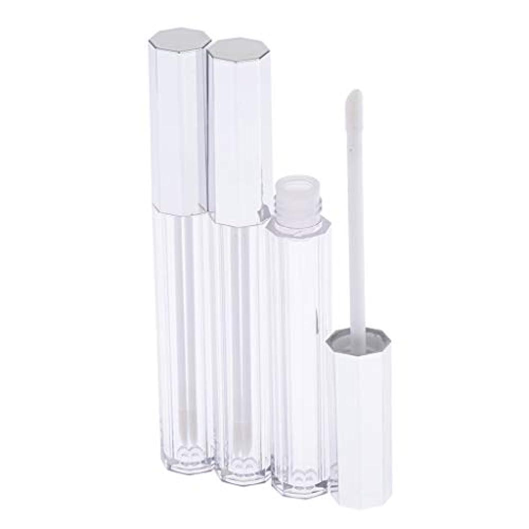 店員配当へこみリップグロス 容器 チューブ クリア リップスティックチューブ プラスチック 5ml 3個セット