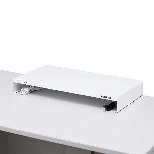 サンワサプライ デスク 電源タップ+USBポート付き机上ラッ...