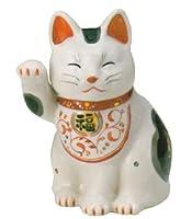 【招き猫】陶彩万福唐草招き猫右手上げ・中(材質/磁器)