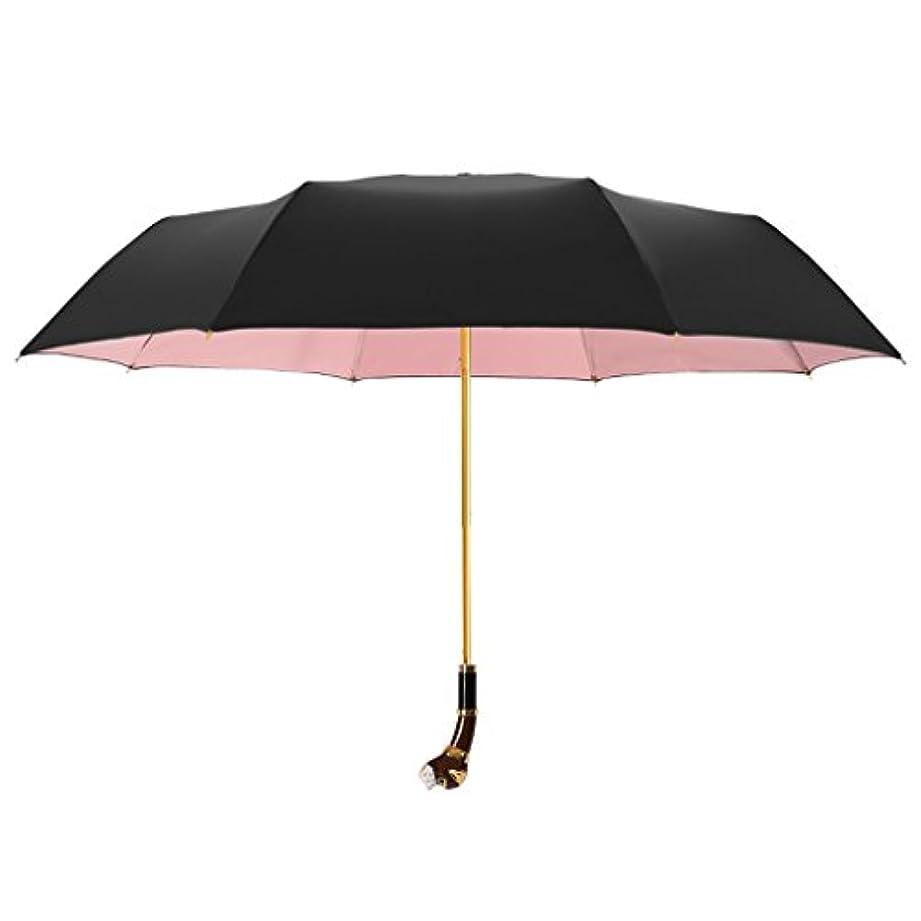 キャンベラ追跡うん傘の犬の頭は、創造的な二つ折りの半自動傘を処理する三回太陽と雨の二重使用日紫外線保護の男性と女性 (色 : Pink)