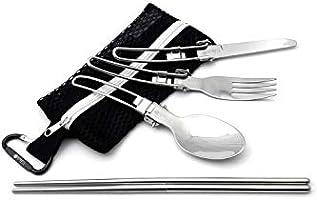 UJack(ユージャック) おりたたみ式 シングル ステンレス カトラリー メッシュタイプ 収納袋 フォーク スプーン ナイフ つなぎ箸 カラビナ 6点 セット