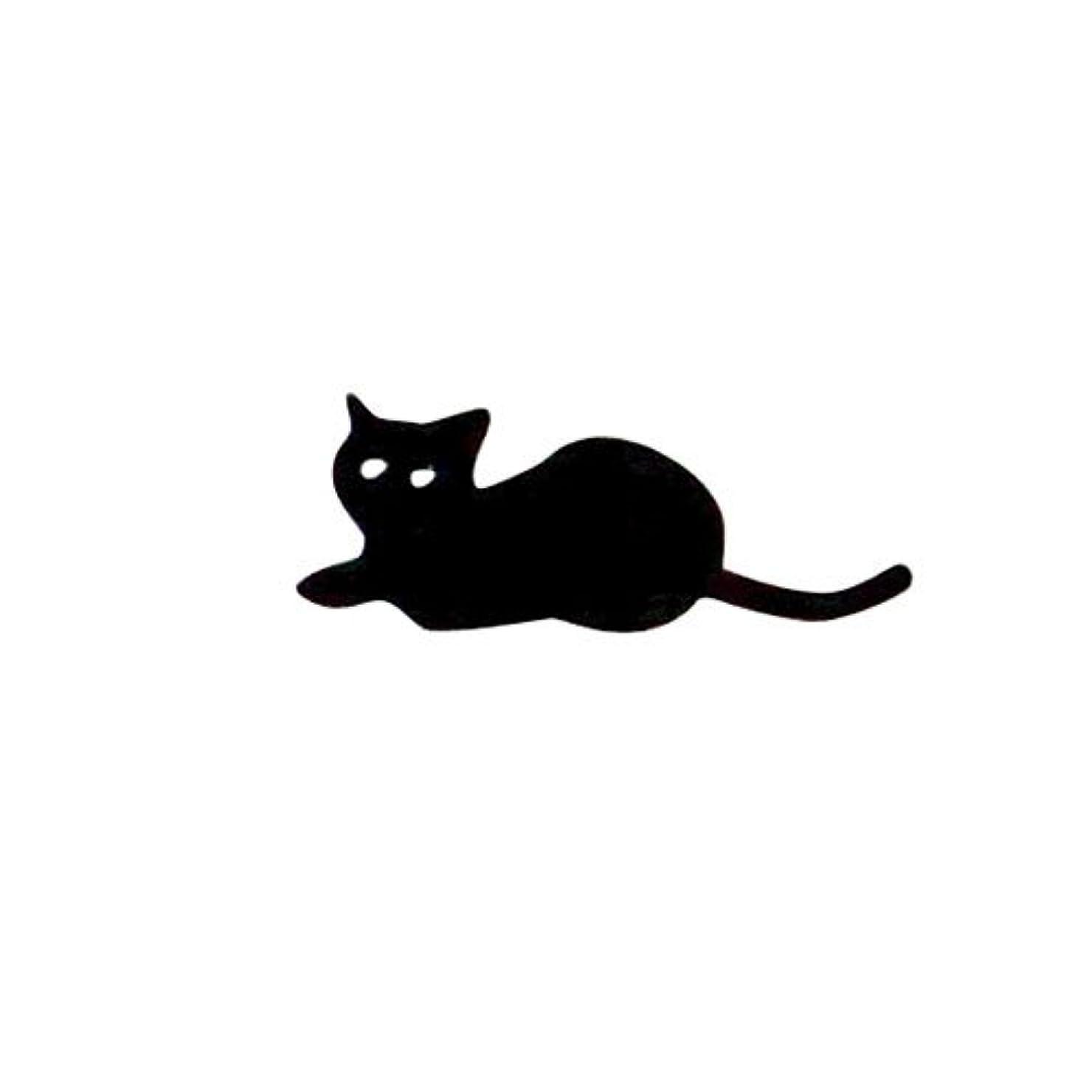 腐敗した統計的船外リトルプリティー ネイルアートパーツ 猫5 ブラック 10個