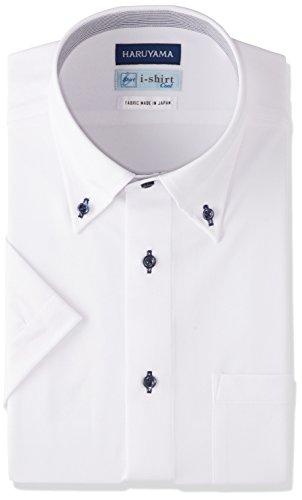 [ハルヤマ] (はるやま) HARUYAMA i-shirt 完全ノーアイロン 半袖 ボタンダウンアイシャツ M162180018 01) ホワイト 日本 M(首回り39cm)-(日本サイズM相当)