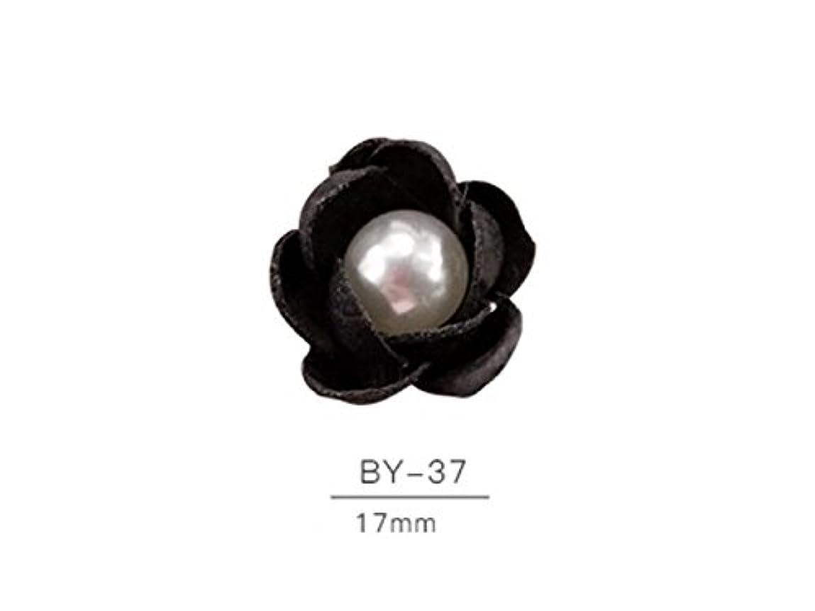 エロチック柱ドナウ川Osize 2個のカラフルなネイルアート樹脂真珠の宝石類ファブリックネイルアートデコレーションネイルステッカー(黒)