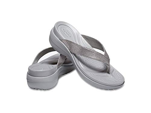 51b413ace1df (クロックス)crocs 205782 サンダル カプリ メタリックテクスチャー ウェッジ レディース 00N(silver silver)  W8(24.0cm) クロックス crocs 205782 レディース ...