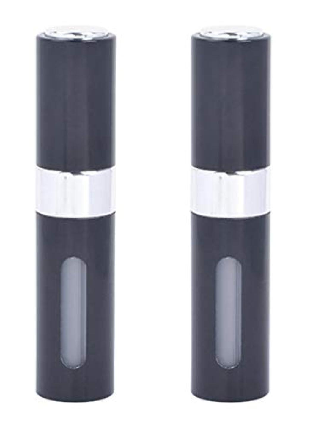 端末顧問壊すアクアミー ワンタッチ 補充 アトマイザー クイック 詰め替え 携帯 香水 スプレー 8ml (2個組, ブラック)