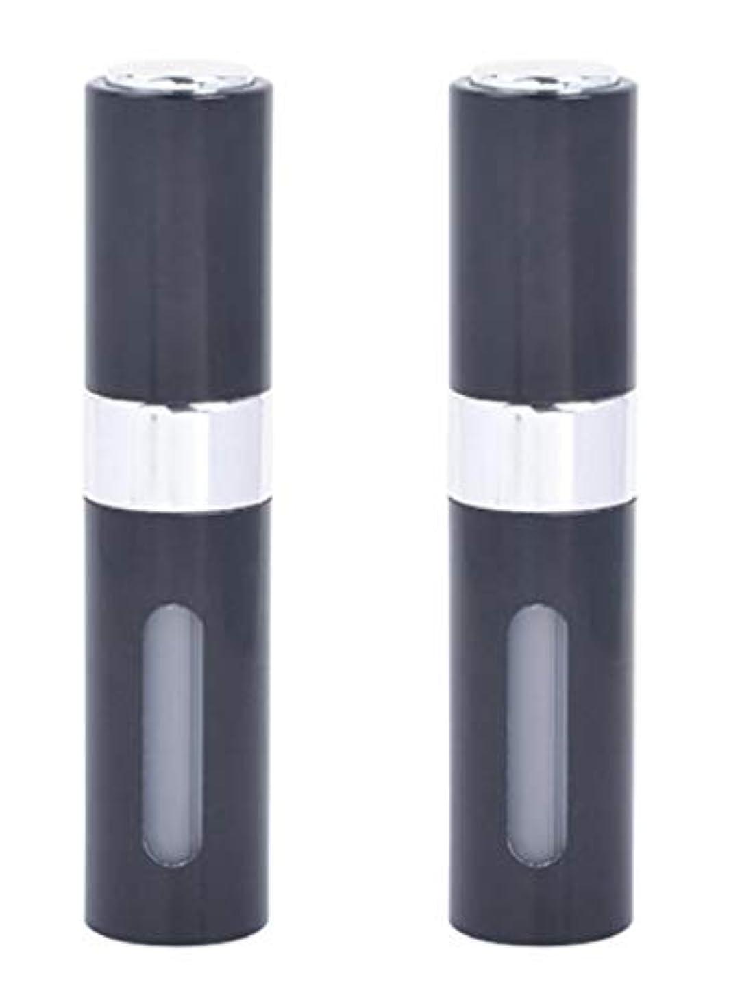 円形ヒステリック真空アクアミー ワンタッチ 補充 アトマイザー クイック 詰め替え 携帯 香水 スプレー 8ml (2個組, ブラック)