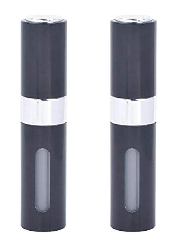 インディカ選挙指標アクアミー ワンタッチ 補充 アトマイザー クイック 詰め替え 携帯 香水 スプレー 8ml (2個組, ブラック)