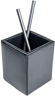 Dacasso Black Bonded Leather Pencil Cup