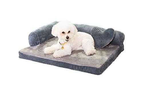 ペット ベッド 洗える ソファー モコモコ クッション スクエア 安眠 ベッド 犬 猫 寝台 四季通用 マット ぐっすり眠る 休憩所 かわいい ござ 付き 寝床 グレー S