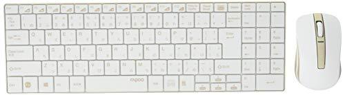2.4GHz ワイヤレスキーボード&マウス rapoo 9160 ホワイト&ゴールド 9160 1個