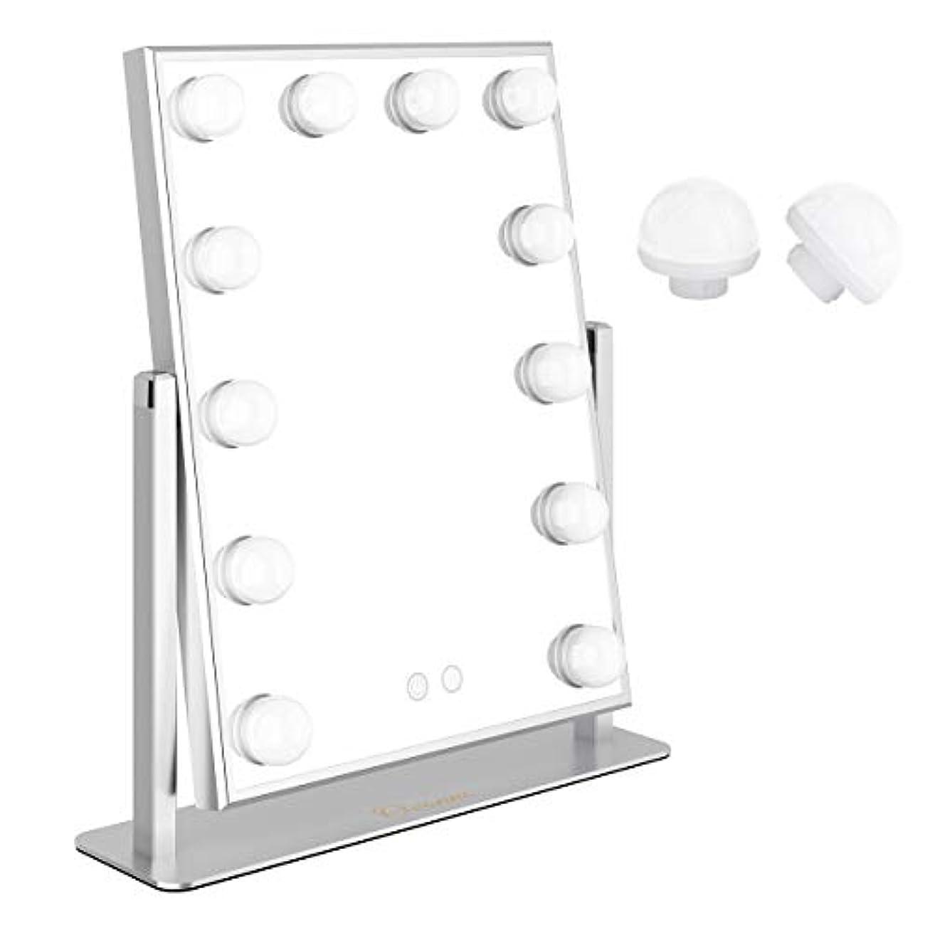 バック忠実にエロチックOvonniハリウッドミラーメイクアップミラープロ用女優ミラー led化粧鏡 二つの色温度明るさ調節可能化粧鏡 12個LED電球付電球交換可能 360度回転USB給電 (シルバー)