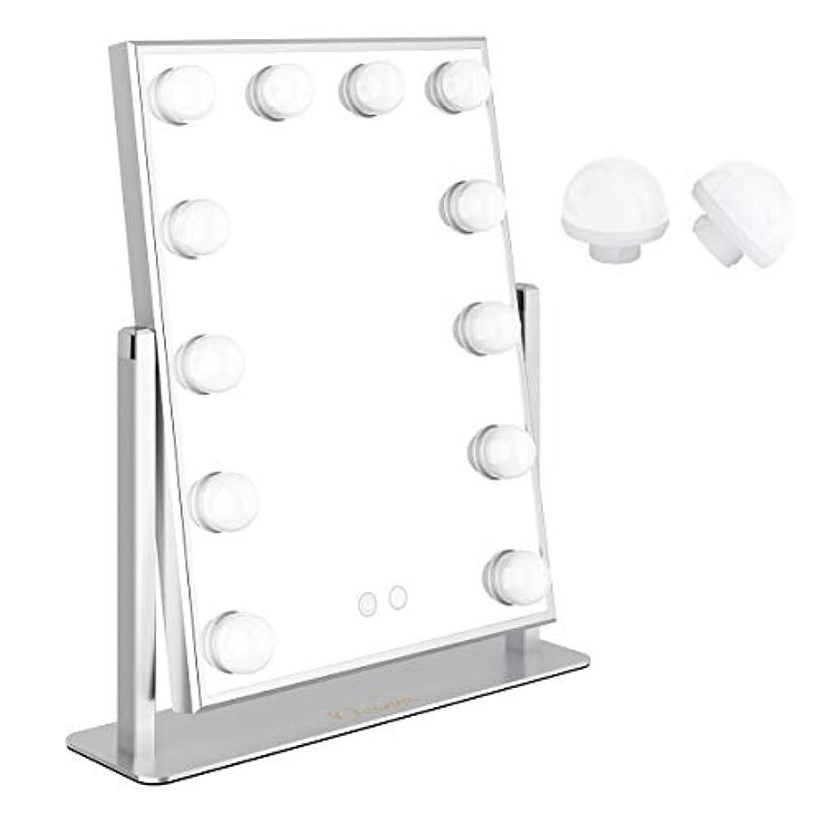 賛美歌ターゲットソファーOvonniハリウッドミラーメイクアップミラープロ用女優ミラー led化粧鏡 二つの色温度明るさ調節可能化粧鏡 12個LED電球付電球交換可能 360度回転USB給電 (シルバー)