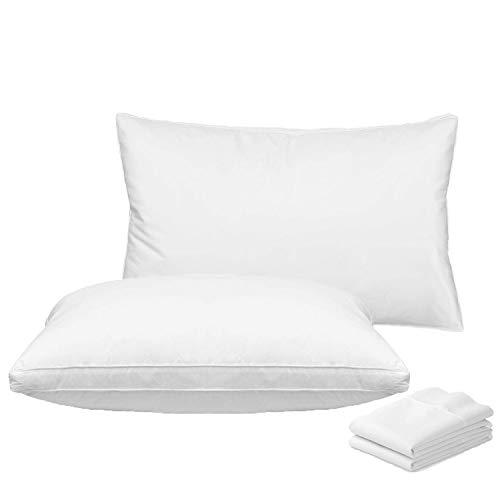 ROADSWIN 枕 安眠 人気 枕 肩こり 安眠枕 枕と枕カバー 2組セット 高反発枕 横向き対応 丸洗い可能 立体構造 高級ホテル仕様 - 43x63cm
