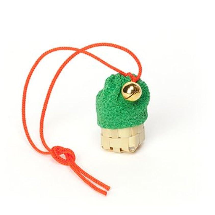 気難しい鏡島松栄堂 匂い袋 携帯用 ミニ籠 1個入 ケースなし (色をお選びください) (緑)