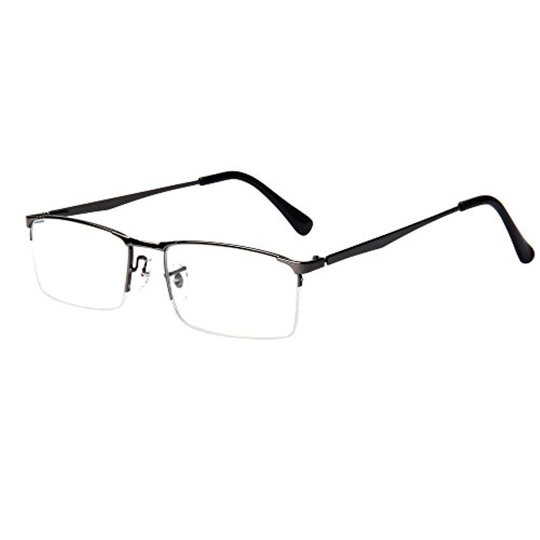 ペルソナ完璧音節(レンサン) LianSan老眼鏡 ユニセックス ハーフリム ナイロール メンズ 男性 メタル フレーム おしゃれ ファッション リーディンググラス シニアグラス 老眼鏡 L6281 グレー +2.25 …