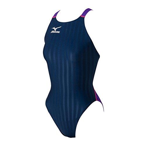 ミズノ レディース 競泳 水着 ストリームアクセラ ミディアムカットワンピース FINA承認 N2MA672188 88:ネイビー×バイオレット M