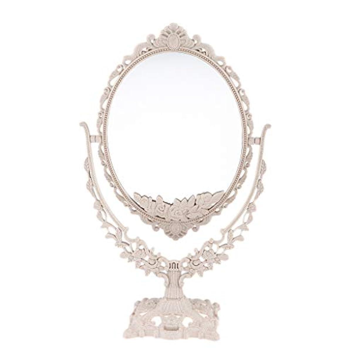 空中維持するクローゼットPerfeclan ミラー 鏡 メイクアップミラー 化粧鏡 スタンドミラー 両面鏡 卓上鏡 360度回転 彫刻 パターン - 楕円形