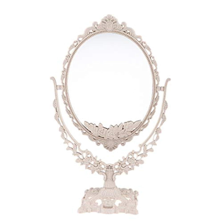 追放正規化日光Perfeclan ミラー 鏡 メイクアップミラー 化粧鏡 スタンドミラー 両面鏡 卓上鏡 360度回転 彫刻 パターン - 楕円形