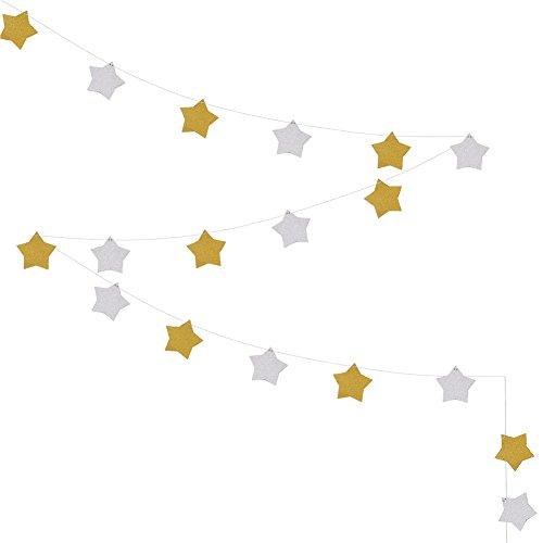 誕生日 飾り付け スター 星 ガーランド デコレーション 飾り10cm*10cm 約3m (表金色&裏銀色)