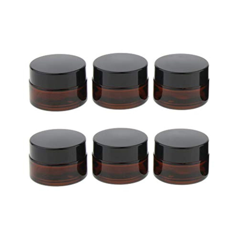 届ける純度コットン6個 ガラスジャー 化粧品容器 小分け容器 クリーム ローション 旅行 出張 3サイズ選べ - 15g