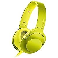 ソニー SONY ヘッドホン h.ear on MDR-100A : ハイレゾ対応 密閉型 折りたたみ式 ケーブル着脱式/バランス接続対応 リモコン・マイク付き ライムイエロー MDR-100A Y