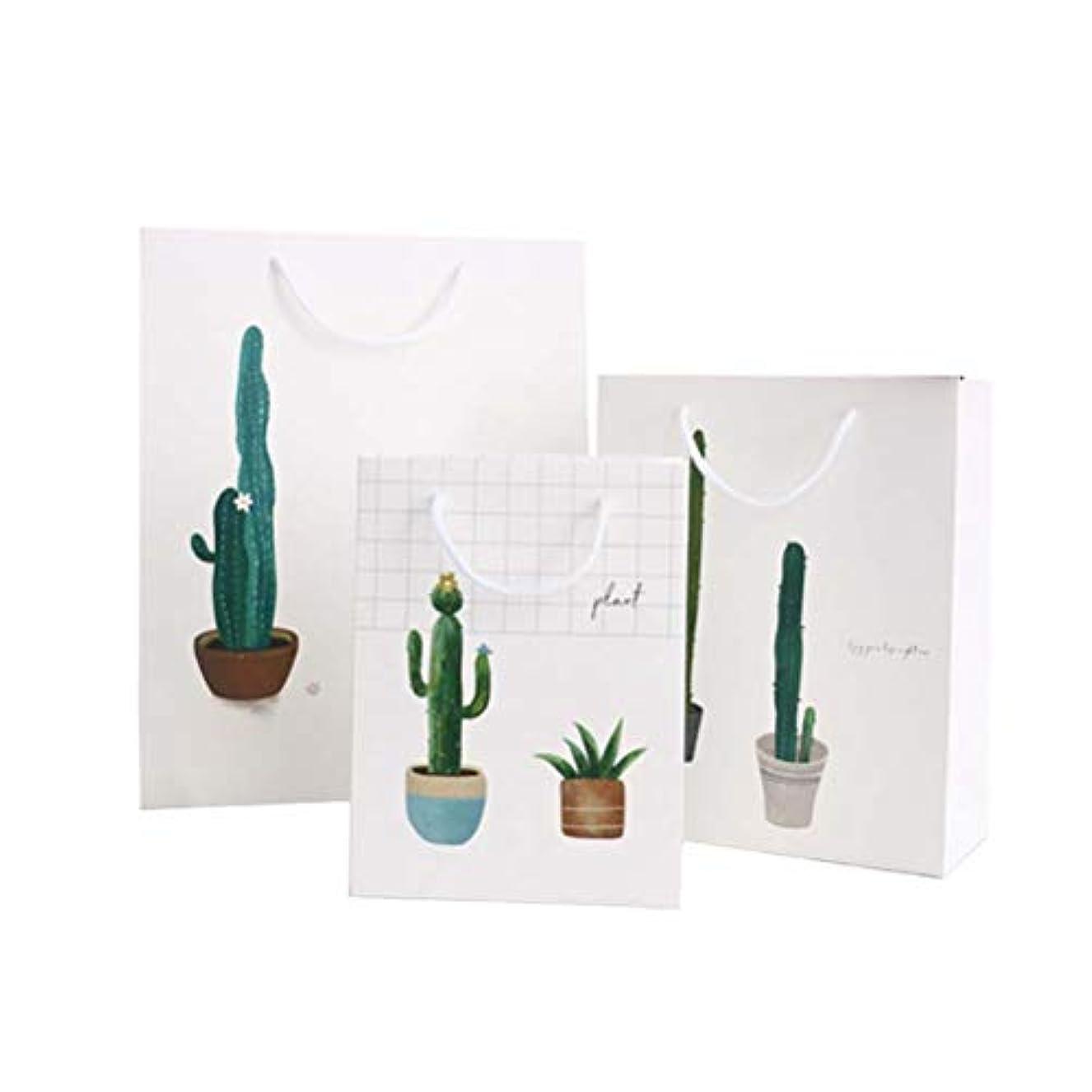 小間比喩ファブリックAmosfun 夏のギフトバッグ植物印刷ギフト収納ポーチ折りたたみトートバッグリサイクル可能なポータブル紙ハンドバッグ(1ピースサイズS + M + L)3ピース