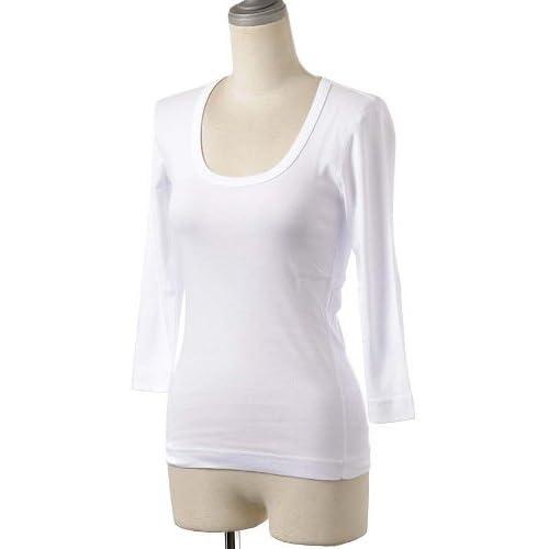(スリードッツ) Three Dots Uネック/七部袖Tシャツ/カットソー AA4S041W White M [並行輸入品]