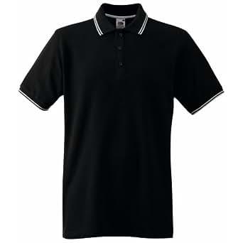 (フルーツオブザルーム) Fruit Of The Loom メンズ 襟ライン 半袖ポロシャツ トップス 男性用 (2XL) (ブラック/ホワイト)