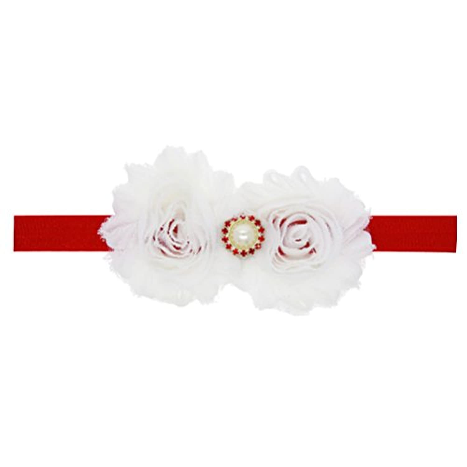 Zhhlinyuan Baby Girls Toddler Kids Christmas/Photography/Party Elastic Faux Pearl Bouquet Headband ヘアアクセサリ