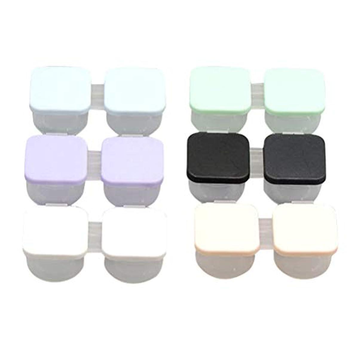 気がついてクリーム建築家Healifty 6Pcs / Setポータブルコンタクトレンズケースダブルボックスコンタクトレンズ容器携帯用コンタクトレンズホルダー