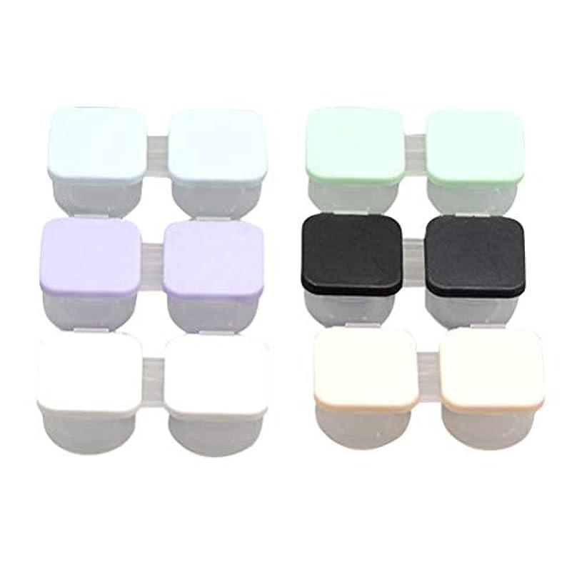 クラスどんよりした赤字Healifty 6Pcs / Setポータブルコンタクトレンズケースダブルボックスコンタクトレンズ容器携帯用コンタクトレンズホルダー