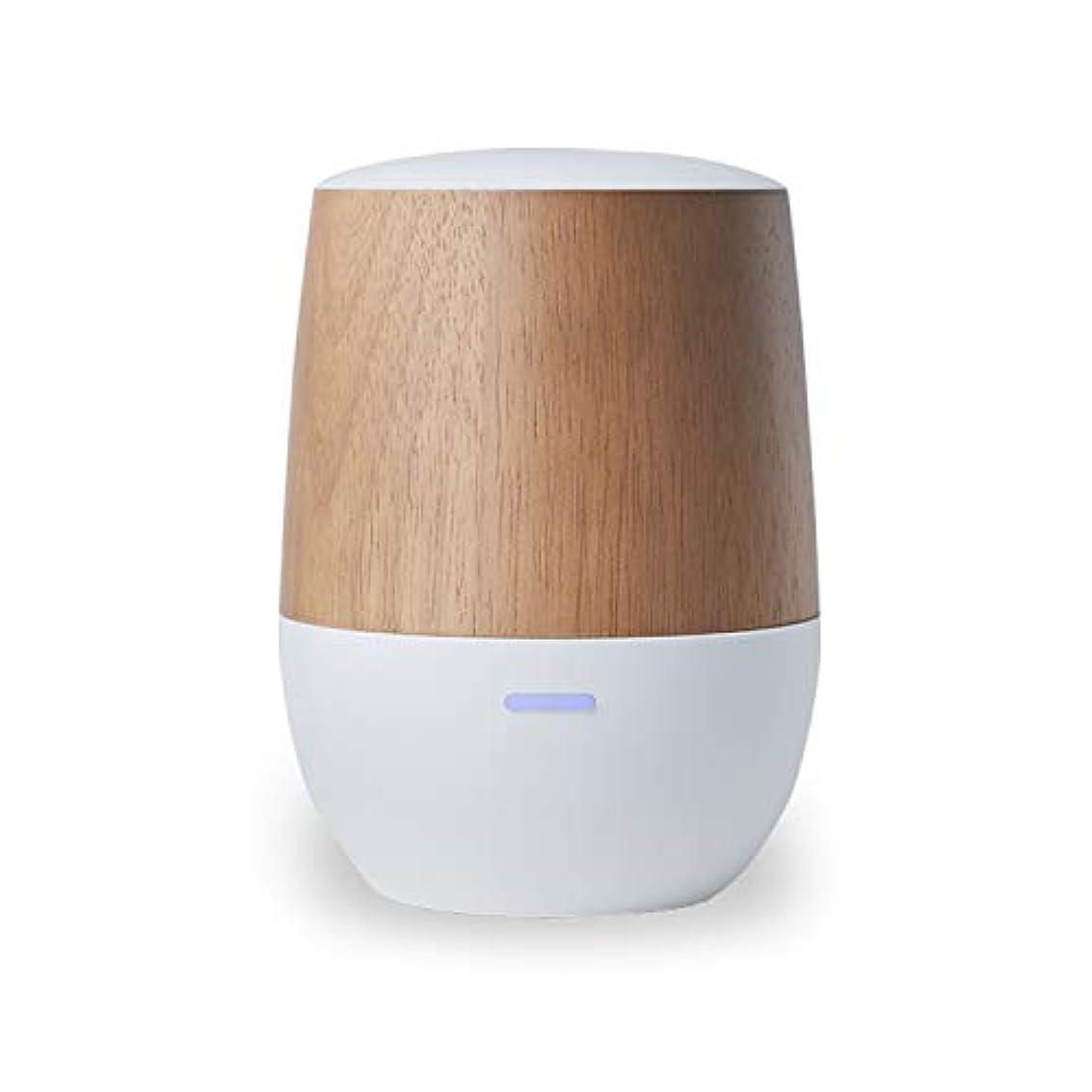 不純表示急行するLOWYA(ロウヤ)アロマディフューザー 水を使わない ネプライザー式 USB 木目 小型 1年保証 アロマオイル対応 ホワイト/ウッド