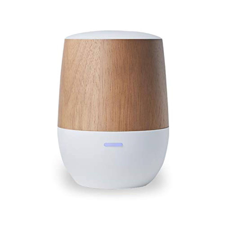 起きろ去る可聴LOWYA(ロウヤ)アロマディフューザー 水を使わない ネプライザー式 USB 木目 小型 1年保証 アロマオイル対応 ホワイト/ウッド