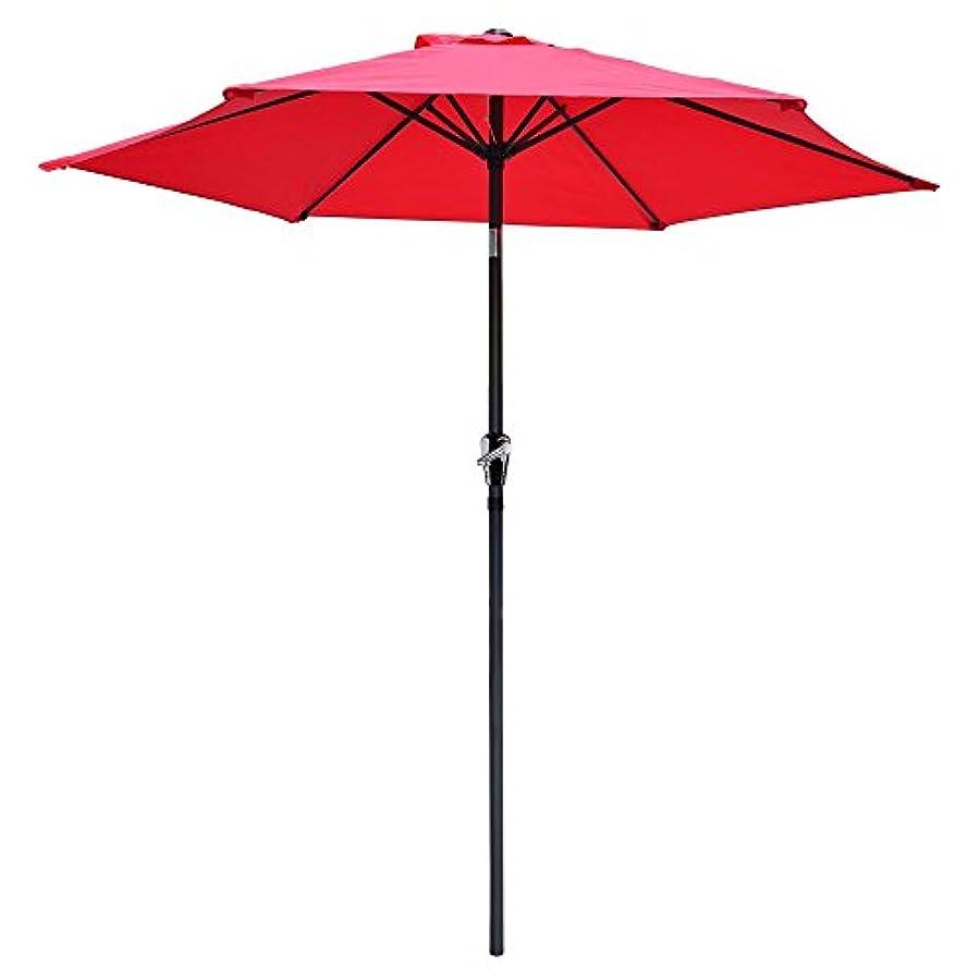 征服者秘密のアレイjtw- 9 ft屋外パティオの快適な防水折りたたみサンシェード傘市場8サンシェードRidスチールTilt W /クランクアルミforアウトドアレッド色