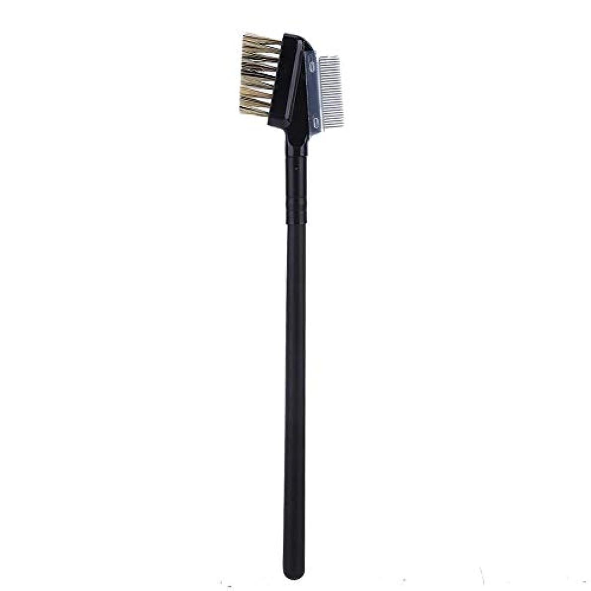 プリーツアームストロングおんどり二重使用眉毛まつげエクステンションくしブラシ、まつげブラシファインメタルコームメイクアップツール